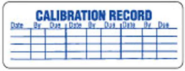 Calibration Record Label 3/4 x 2-1/2