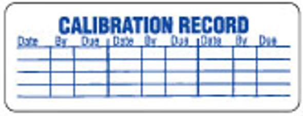 Calibration Record Label 3/4 x 2-1/2