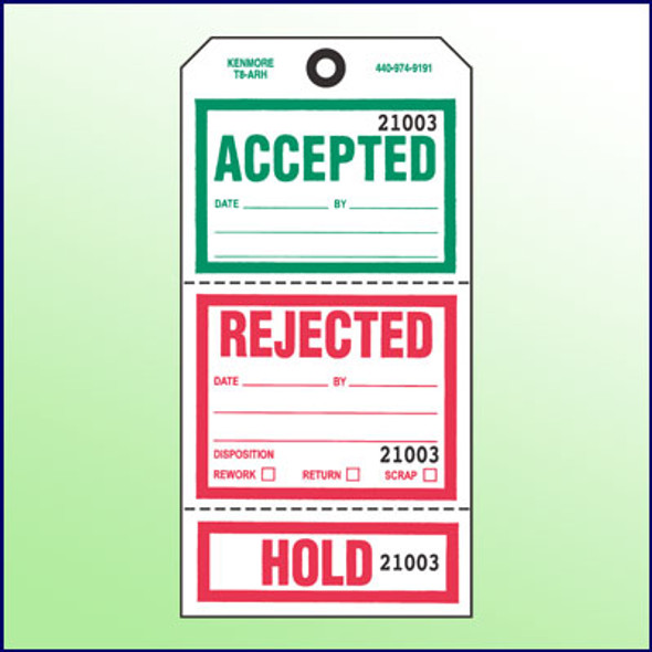 Accepted/  Rejected/Hold Tag (3 Section) w/Transfer Tape