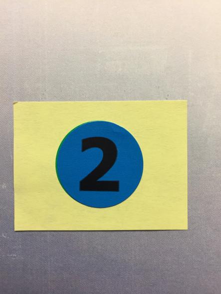 "1"" BLUE CIRCLE-NUMBER ""2"""
