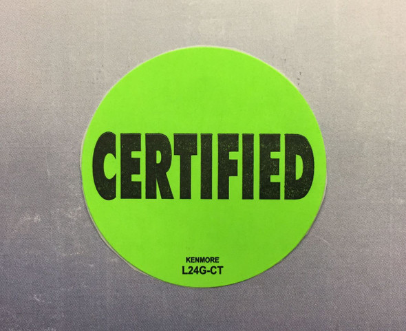 Certified Label  1-3/4 dia.