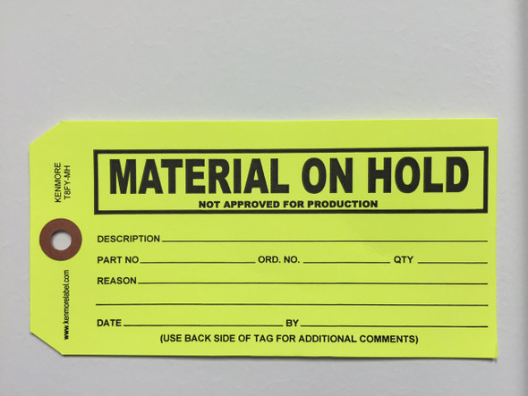 Material on Hold Tag - Size 8