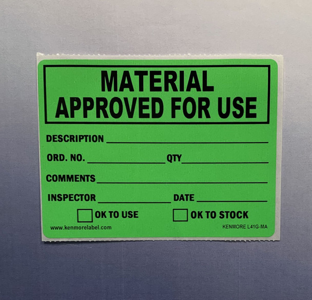 Material Approved for Use Quality Assurance Label 4 x 3