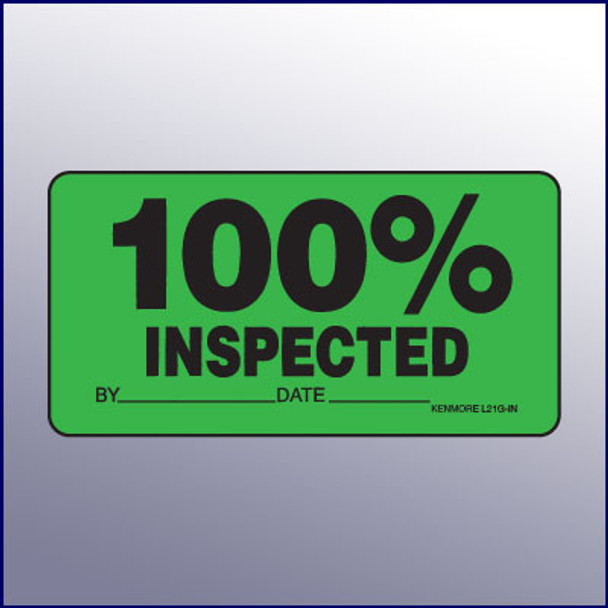 100% Inspected Label  4 x 2