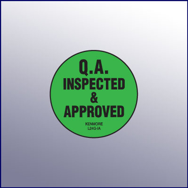 Inspected & Approved QA Label 1-3/4 dia.