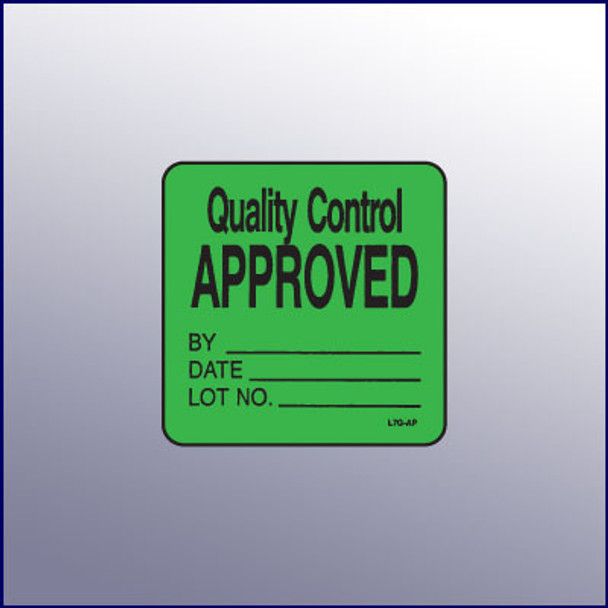 Quality Control Approved Label 1-3/4 dia.