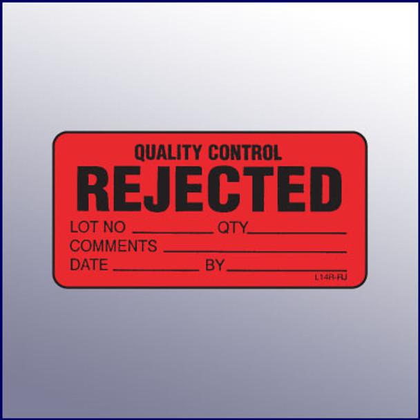 Rejected Quality Control Mini Label 1-1/4 x 2-1/2