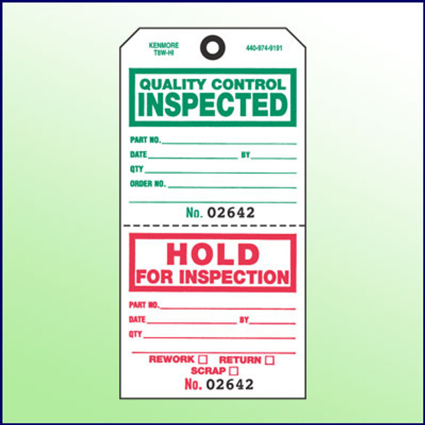 Quality Control Inspected/Hold for Inspection Tag (2 Section) w/Transfer Tape