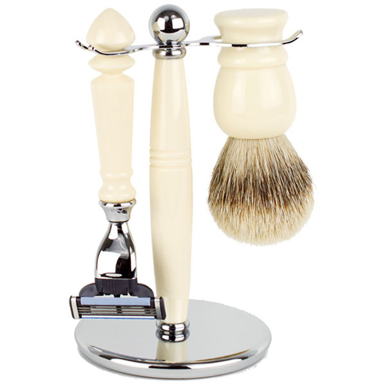 Hirsh Luxury Shaving Set - Ivory Resin - Mach 3 (HL-MSBA25RS)
