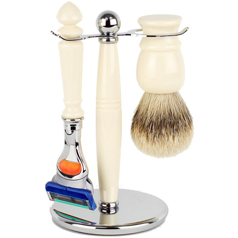 Hirsh Luxury Shaving Set - Ivory Resin - Fusion (HL-FSBA25RS)