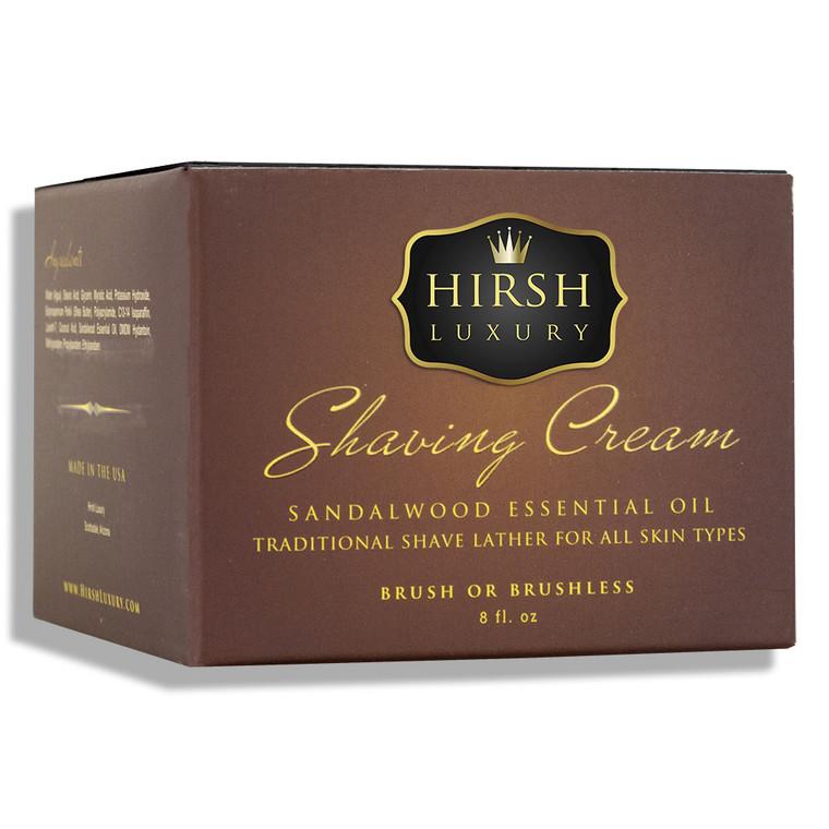Hirsh Luxury Shaving Cream - Sandalwood Essential Oil - 8 oz.