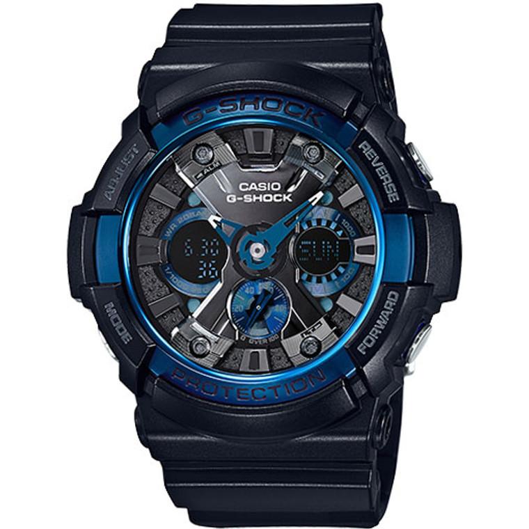 Casio G-Shock Ana-Digital XL Black & Blue IP Bezel