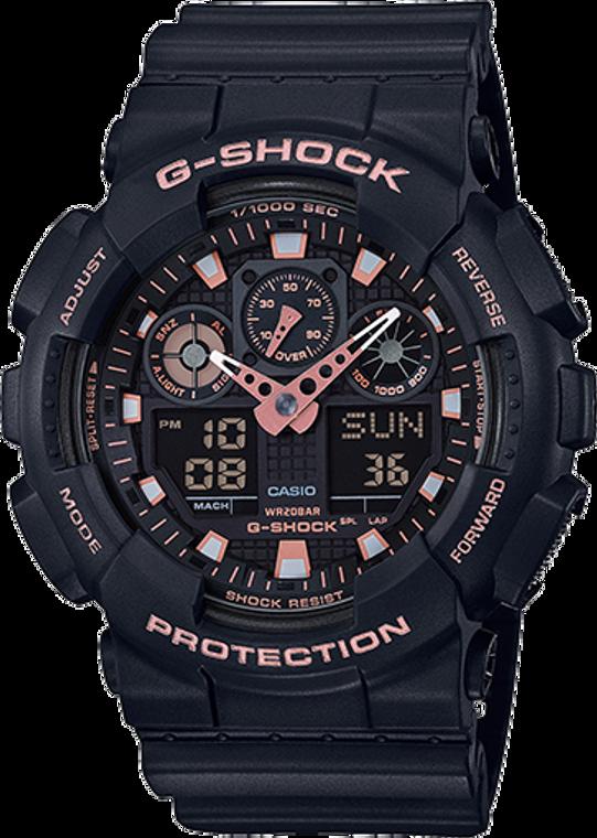 Casio G-Shock Ana-Digital Black and Rose Gold GA100GBX-1A4CR