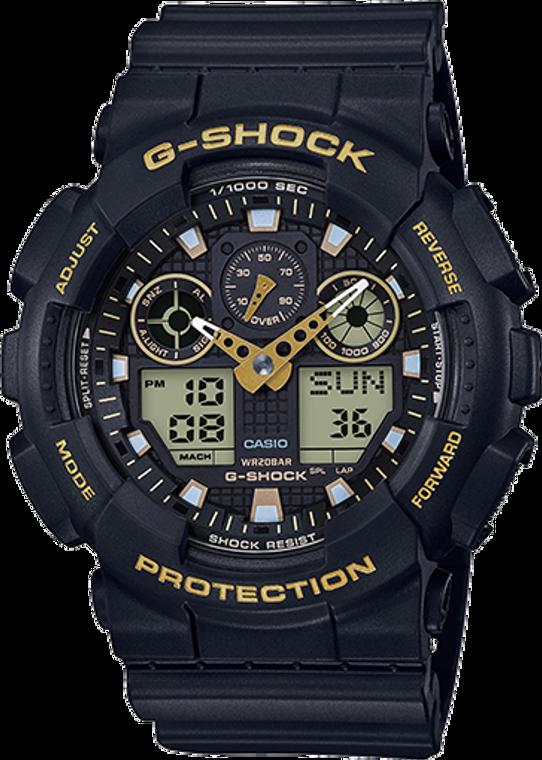 Casio G-Shock Ana-Digital Black and Gold GA100GBX-1A9CR
