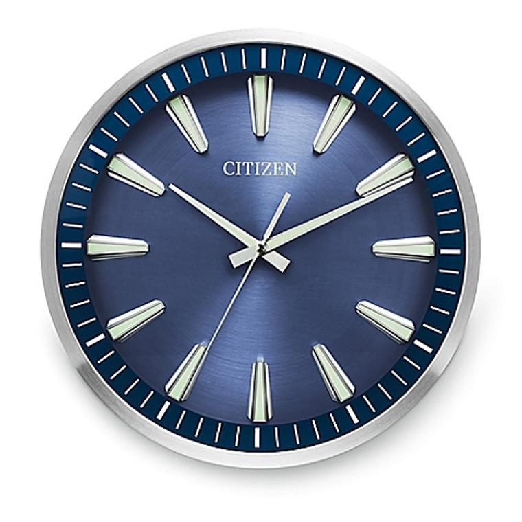 Citizen Gallery Circular Wall Clock - Silver-Tone - Navy Blue Dial  CC2010