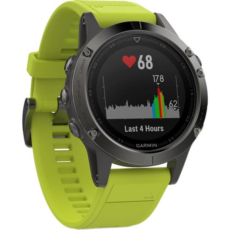 Garmin Fenix 5 GPS Watch Slate Grey With Amp Yellow Band