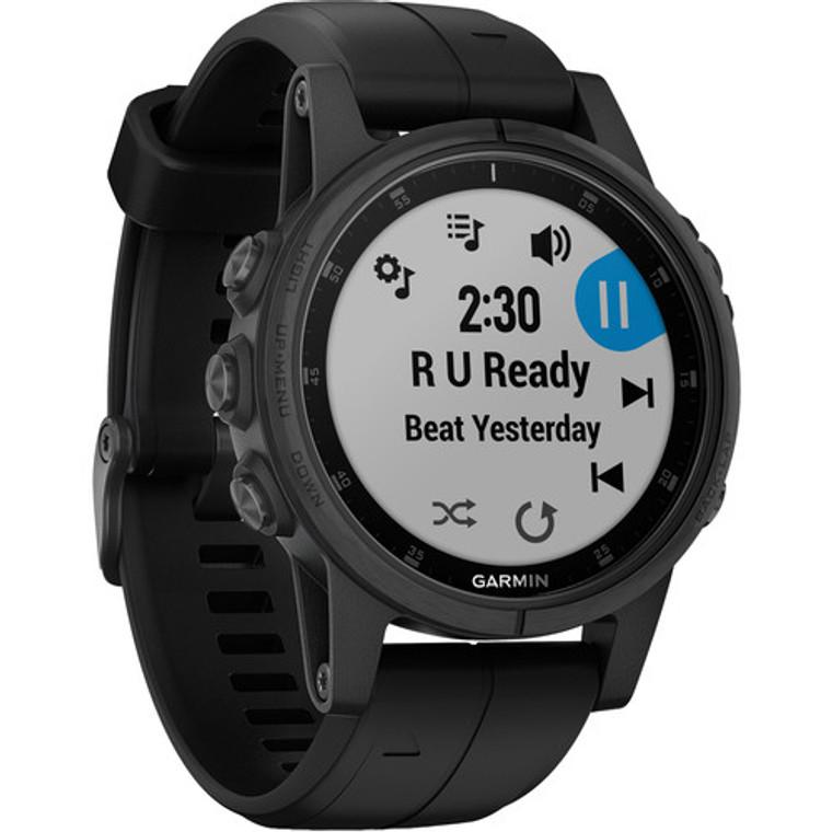 Garmin fenix 5S Plus Sapphire Edition Multi-Sport Training GPS Watch (42mm, Black with Black Band)