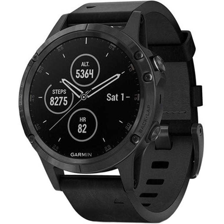 Garmin fenix 5S Plus Sapphire Edition Multi-Sport Training GPS Watch (47mm, Black with Black Leather Band)