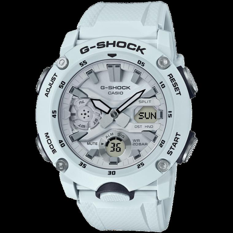 Casio G-Shock GA-2000S-7A White Front Button Watch