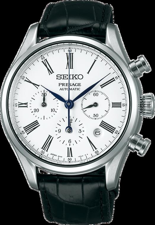 Seiko Presage SPQ023 Enamel Collection White Dial Chronograph