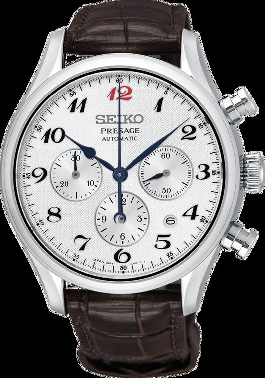 Seiko Presage SRQ025 White Dial Chronograph