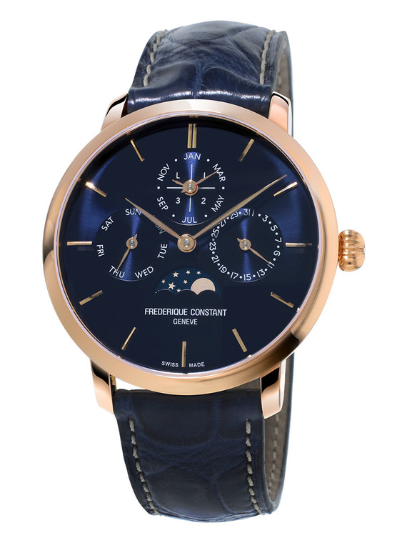 Frederique Constant FC-775N4S4 Slimline Perpetual Calendar Manufacture Rose Gold Blue Dial