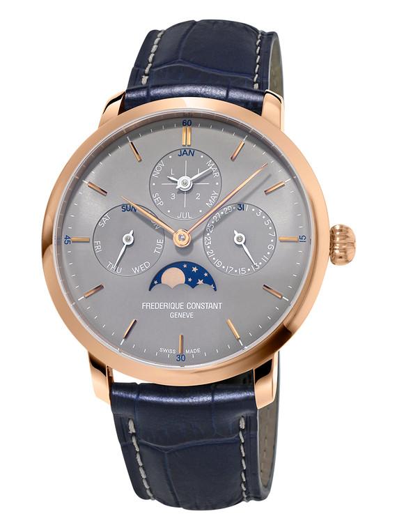 Frederique Constant FC-775G4S4 Slimline Perpetual Calendar Manufacture Rose Gold Gray Dial