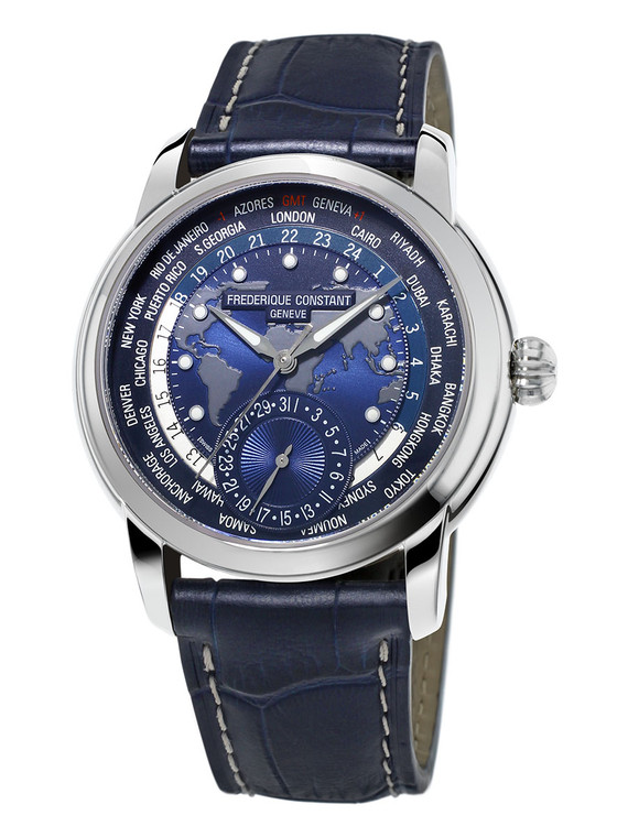Frederique Constant FC-718NWM4H6 Classic Worldtimer Manufacture Stainless Steel Blue Dial