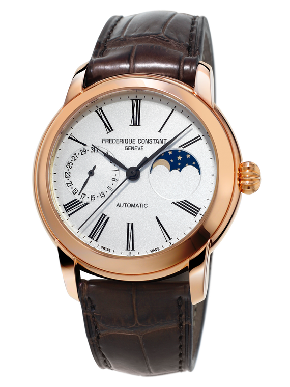Frederique Constant FC-712MS4H4 Classic Moonphase Manufacture Rose Gold Silver Dial
