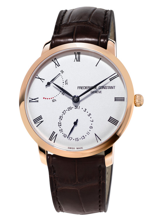Frederique Constant FC-723WR3S4 Slimline Power Reserve Manufacture Rose Gold Silver Dial