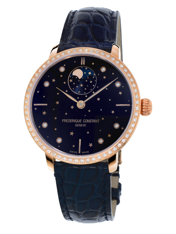 Frederique Constant FC-701NSD3SD4 Slimline Moonphase Stars Manufacture Rose Gold Blue Dial