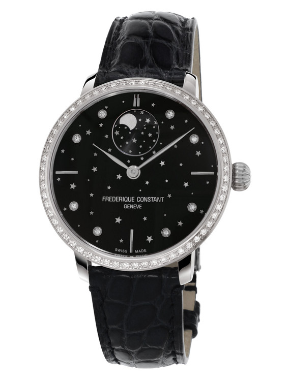 Frederique Constant FC-701BSD3SD6 Slimline Moonphase Stars Manufacture Stainless Steel Black Dial