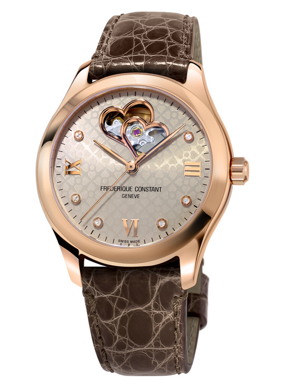 Frederique Constant FC-310LGDHB3B4 Ladies Automatic Double Heart Beat Rose Gold Light Grey Dial