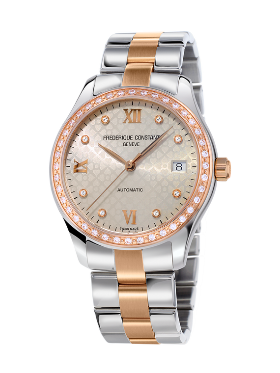 Frederique Constant FC-303LGD3BD2B Ladies Automatic Double Heart Beat Stainless Steel Bracelet  Rose Gold Light Grey Dial
