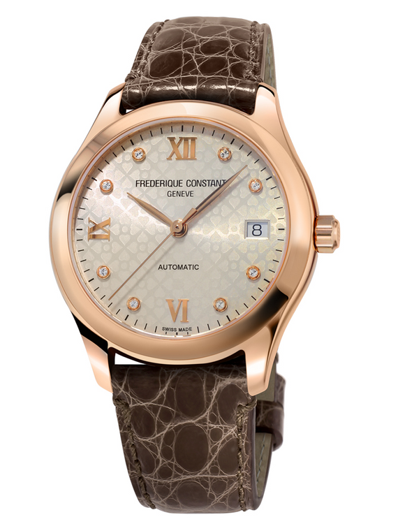 Frederique Constant FC-303LGD3B4 Ladies Automatic Rose Gold Light Grey Dial