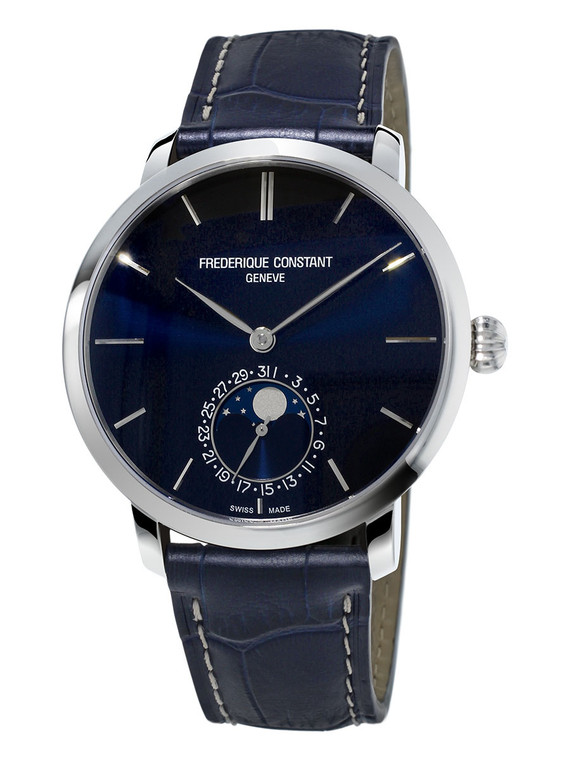 Frederique Constant FC-705N4S6 Slimline Moonphase Manufacture Stainless Steel Blue Dial