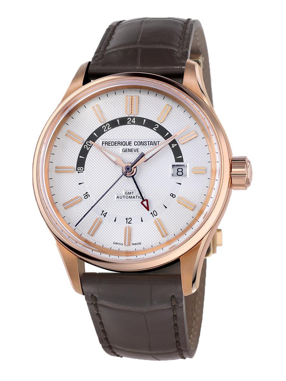 Frederique Constant FC-350VT4H4 Yacht Timer GMT Rose Gold Silver Dial