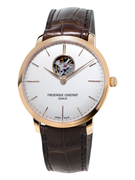 Frederique Constant FC-312V4S4 Slimline Heart Beat Automatic Rose Gold Silver Dial