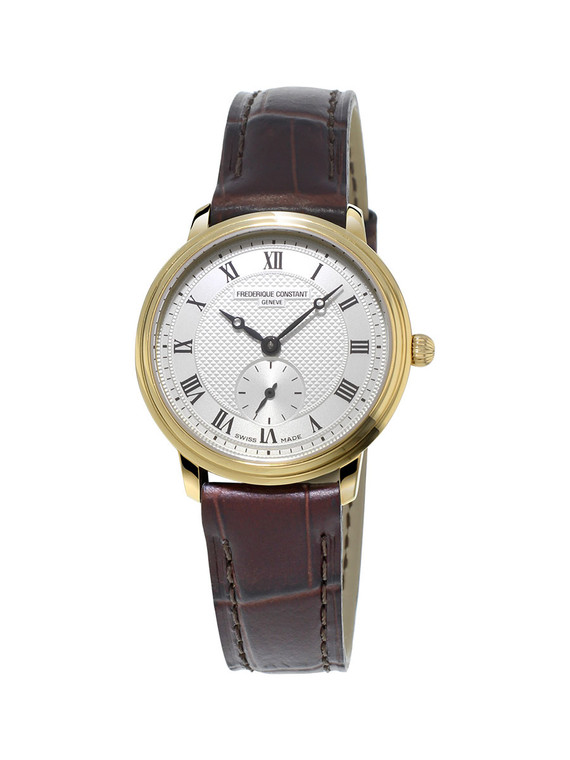 Frederique Constant FC-235M1S5 Slimline Ladies Small Seconds Yellow Gold Silver Dial