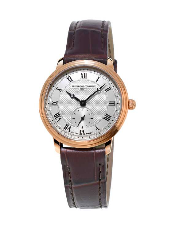 Frederique Constant FC-235M1S4 Slimline Ladies Small Seconds Rose Gold Silver Dial