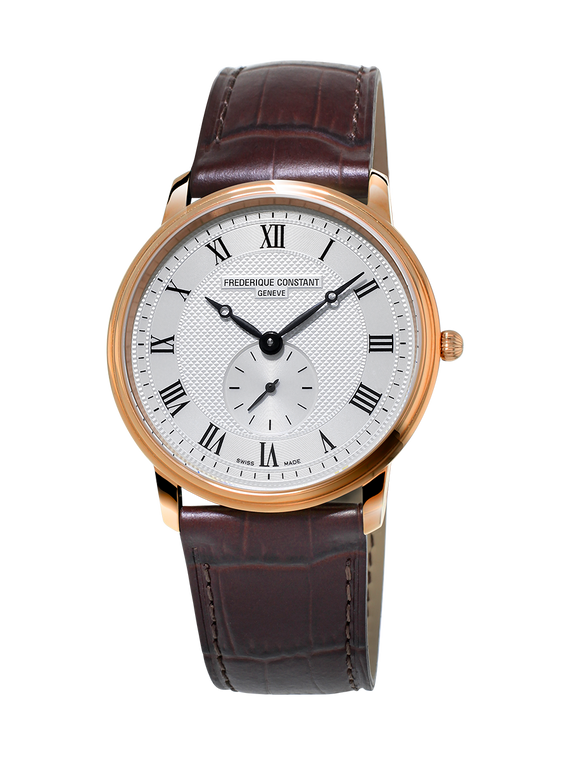 Frederique Constant FC-235M4S4 Slimline Ladies Small Seconds Rose Gold Silver Dial