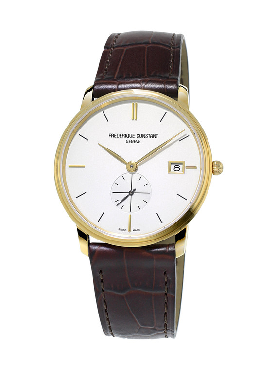 Frederique Constant FC-245V4S5 Slimline Gents Small Seconds Yellow Gold Silver Dial