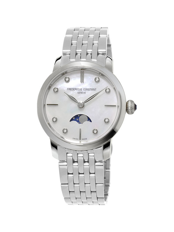 Frederique Constant FC-206MPWD1S6B Slimline Ladies Moonphase Stainless Steel Mother of Pearl