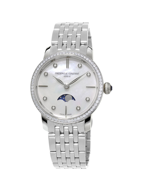 Frederique Constant FC-206MPWD1SD6B 76 Diamonds Slimline Ladies Moonphase Stainless Steel Mother of Pearl