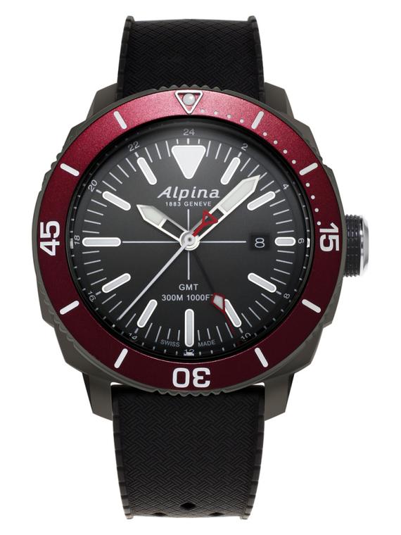 Alpina AL-247LGBRG4TV6 Seastrong Diver GMT Black Dial Red Bezel