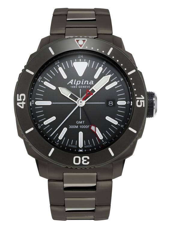 Alpina AL-247LGG4TV6B Seastrong Diver GMT Black Dial Metal Bracelet
