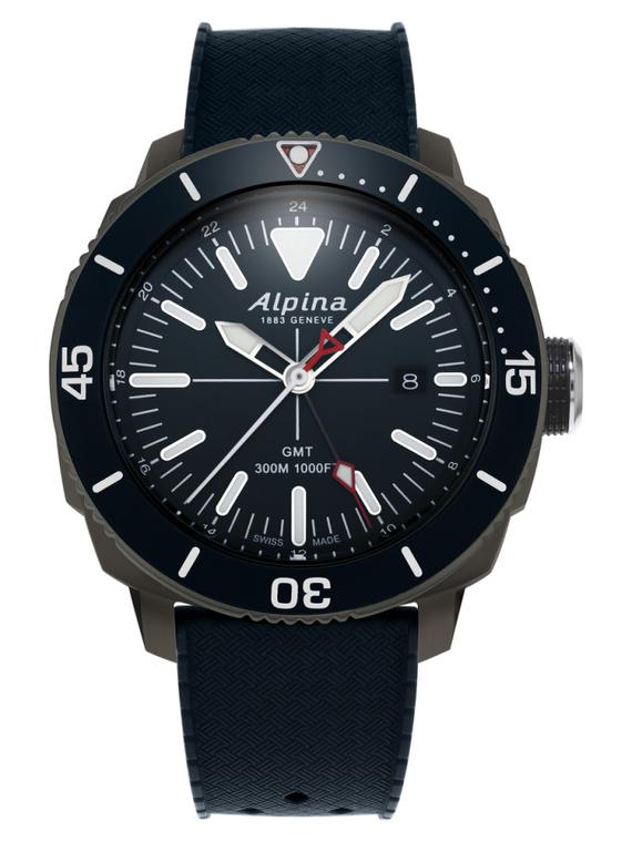 Alpina AL-247LNN4TV6 Seastrong Diver GMT Black Dial Rubber Band