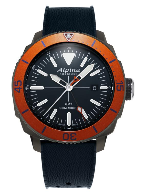 Alpina AL-247LNO4TV6 Seastrong Diver GMT Black Orange Bezel