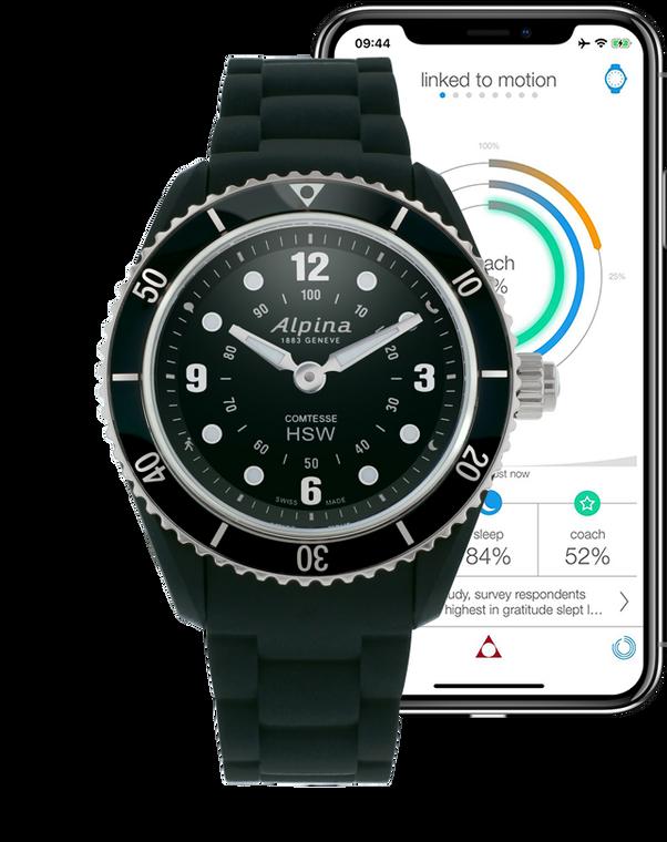 Alpina AL-281BS3V6 Ladies Horological Smartwatch Black Dial