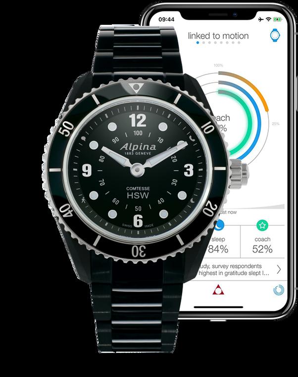 Alpina AL-281BS3V6 Comtesse Horological Smartwatch Black Dial Metal Bracelet